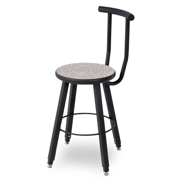 32 Adjustable Height Round Laminate Armor Edge Seat 4 Leg Stool with Backrest by WB Manufacturing