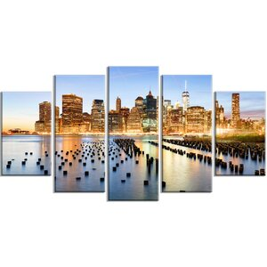 'New York Skyline with Skyscrapers' 5 Piece Wall Art on Wrapped Canvas Set by Design Art