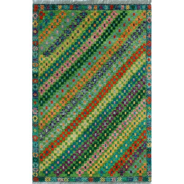 One-of-a-Kind Millender Shukura Hand-Knotted Wool Green Area Rug by Bloomsbury Market