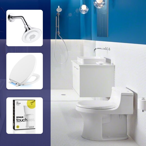 Moxie 2.0 GPM Single-Function Showerhead, Toilet Seat and Flush Retrofit Kit Set by Kohler