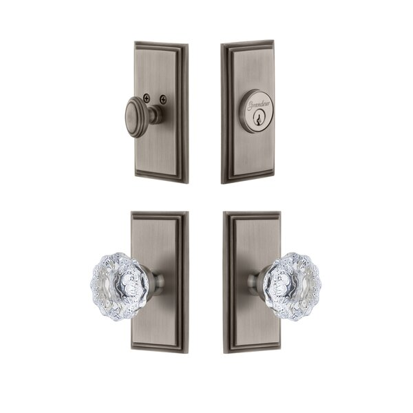 Carre Single Cylinder Knob Combo Pack with Fontainebleau Knob by Grandeur
