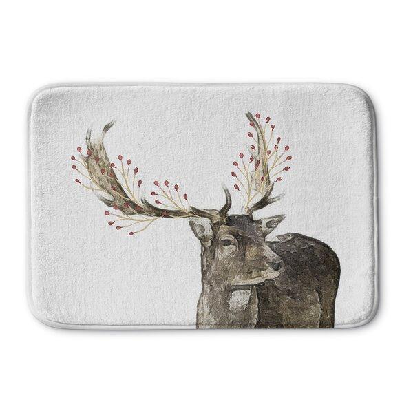 Berry Deer Memory Foam Bath Rug by The Holiday Aisle