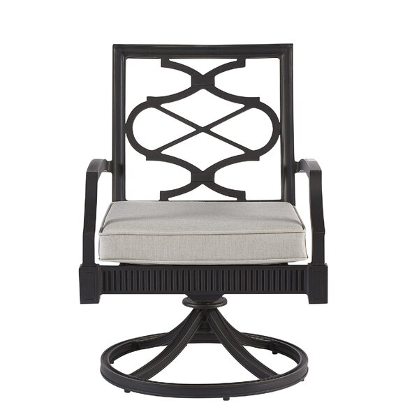 Euston Swivel Patio Dining Chair with Cushion (Set of 2) by Canora Grey