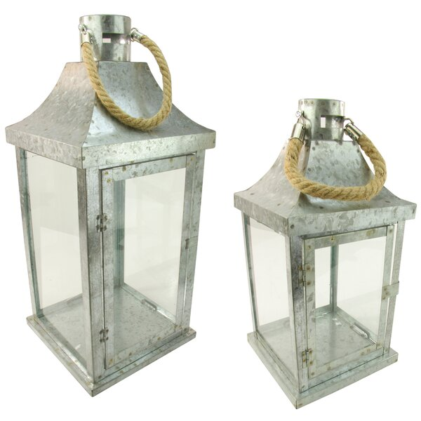 2 Piece Metal and Glass Lantern Set by Northlight Seasonal