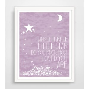 Twinkle Twinkle Little Star' Textual Art on Paper in Purple by Harriet Bee