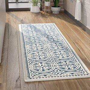 sandra navy blueivory area rug