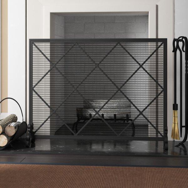 Tepper Single Panel Iron Fireplace Screen By Fleur De Lis Living