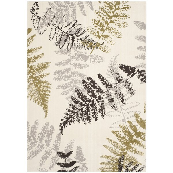 Avon Ivory / Light Grey Floral and Plant Rug by Bay Isle Home