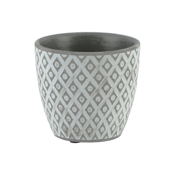 Diggs Round Diamond Design Cement Pot Planter by Bungalow Rose