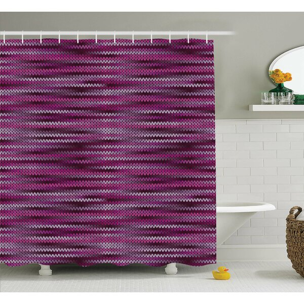 Vintage Knit Pattern Featured Variations of Tone Nostalgic Vivid Art Shower Curtain Set by Ambesonne