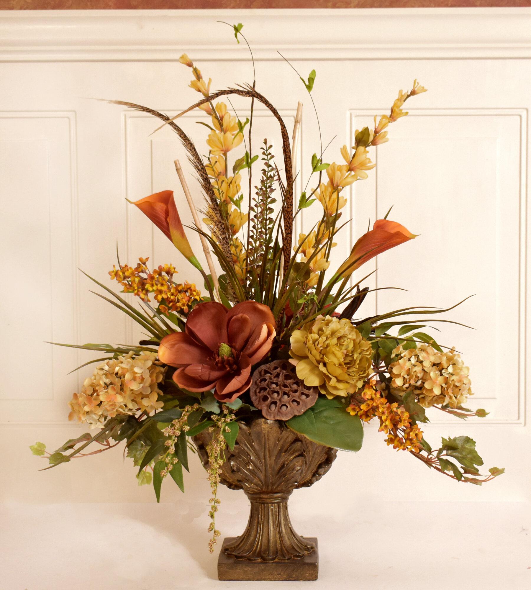 Fleur De Lis Living Silk Flower Floral Arrangement In Decorative