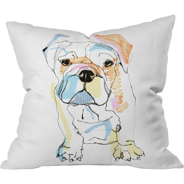 Bulldog Outdoor Throw Pillow by Deny Designs