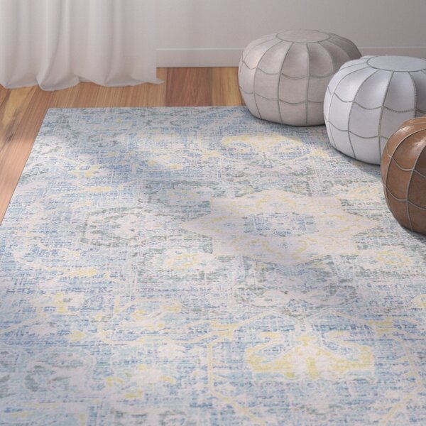 Lyngby-Taarbæk Aqua/Bright Yellow Area Rug by Bungalow Rose