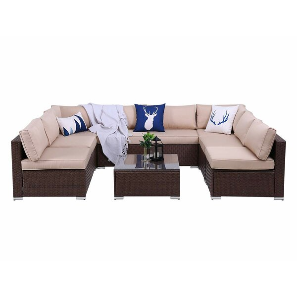 Songul Outdoor 9 Piece Rattan Sectional Seating Group with Cushions by Latitude Run