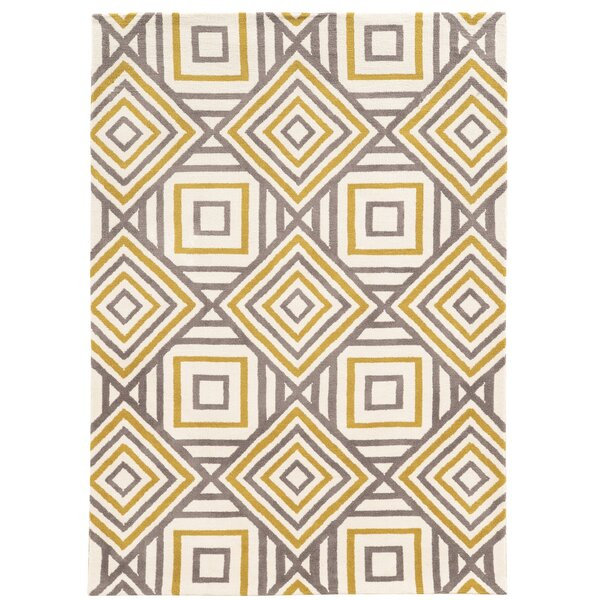Patricio Hand-Tufted Beige/Gray/Yellow Area Rug by Wrought Studio