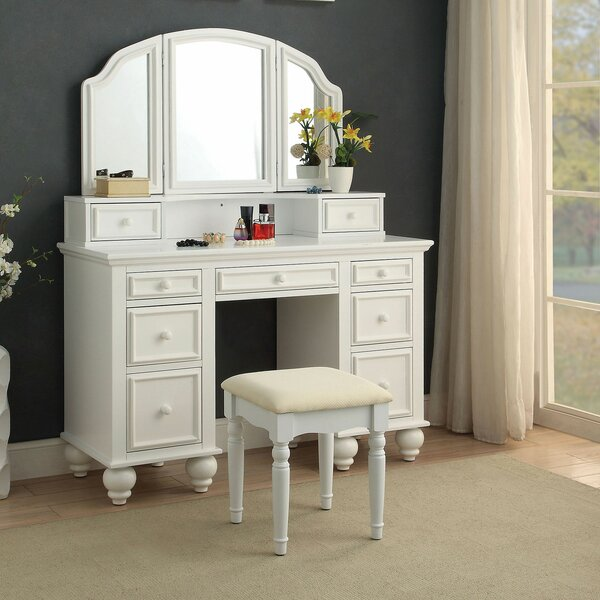 Eastbourne Vanity Set with Stool and Mirror by One Allium Way One Allium Way