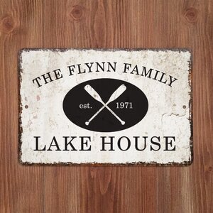 Personalized Distressed Vintage-Look Lake House Metal Sign Wall Du00e9cor