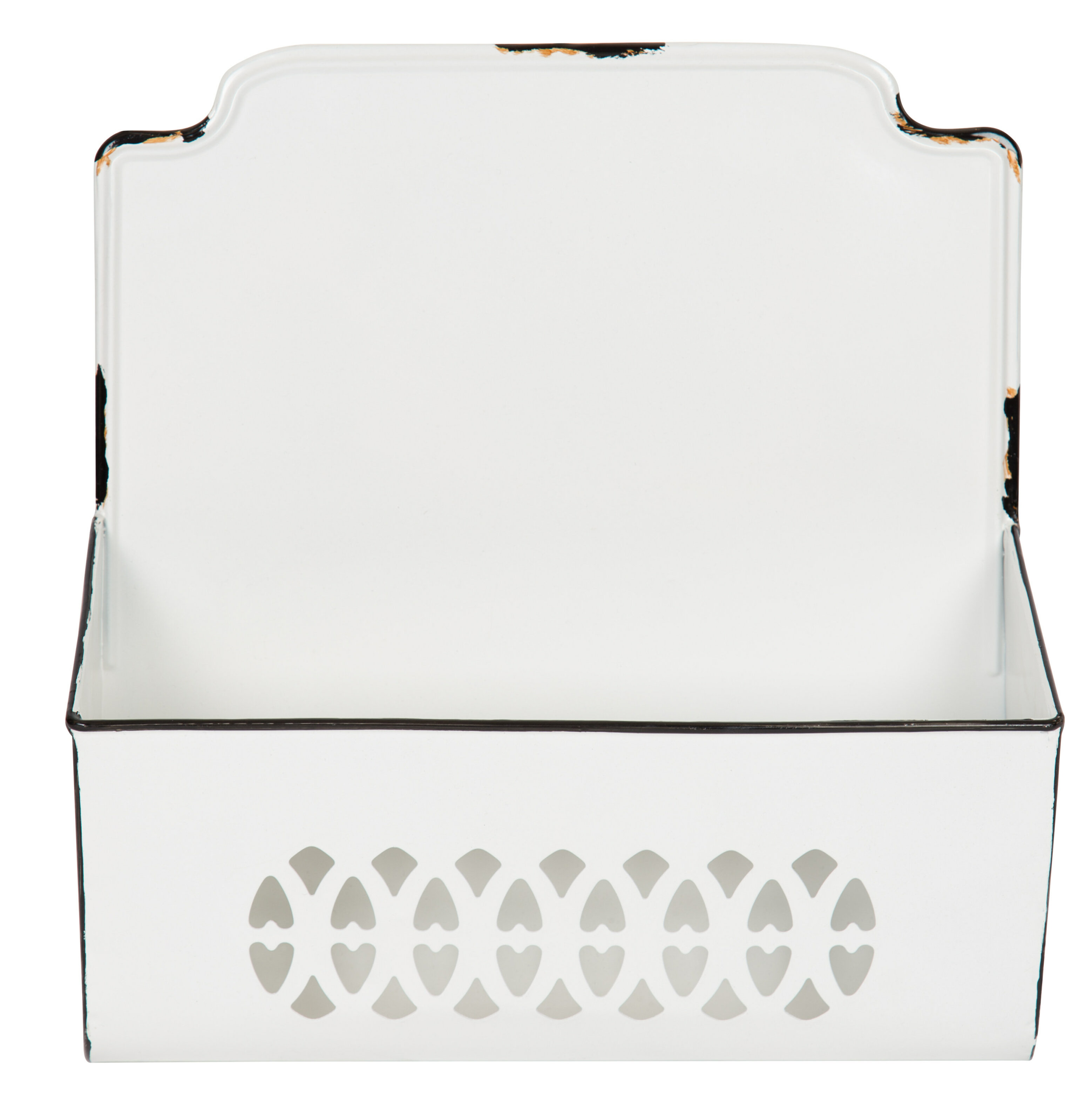 Catch All Distressed White with Black Trim Metal Wall Bin