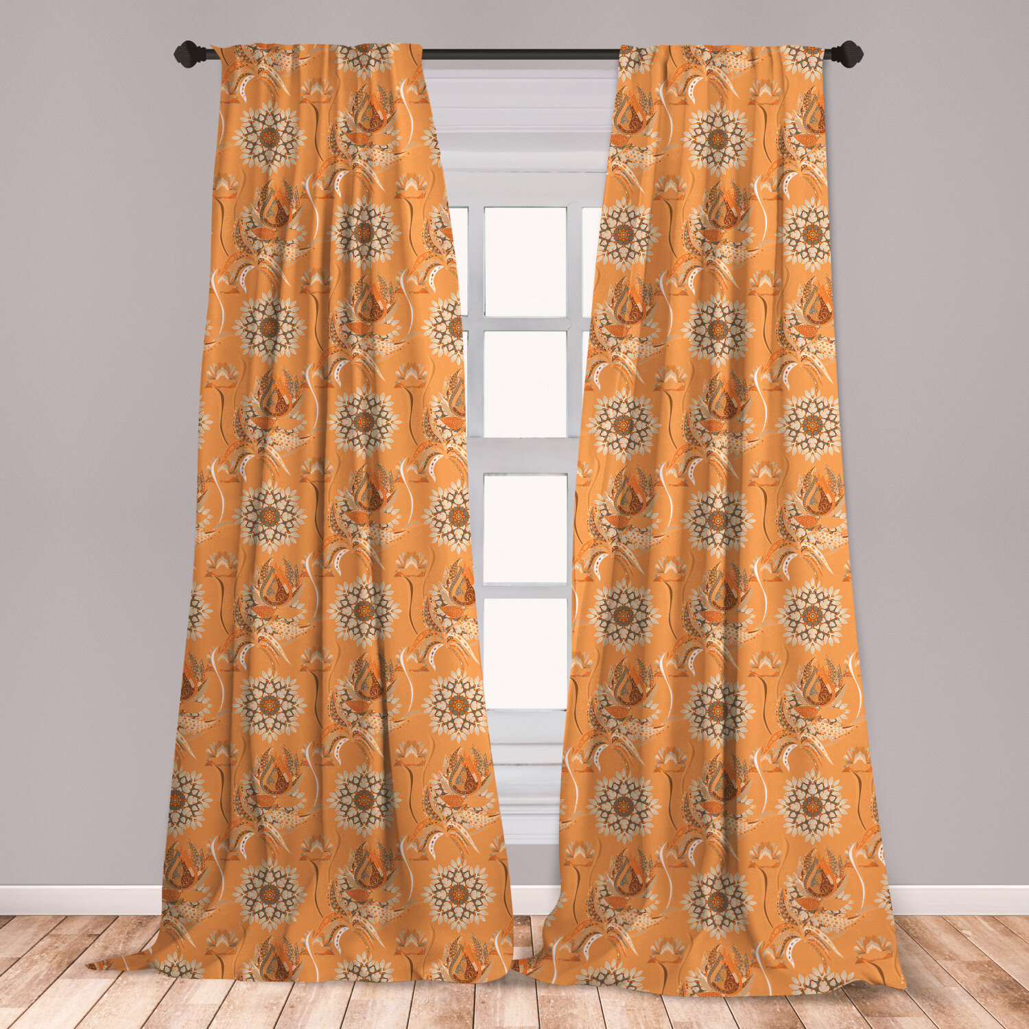Ambesonne Tan And Brown Curtains Ornamental Ottoman Garden Pattern With Tulips And Blossoming Flowers Window Treatments 2 Panel Set For Living Room
