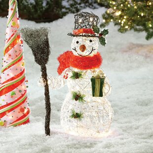 snowman christmas decoration with clear lights - Raz Christmas Decorations