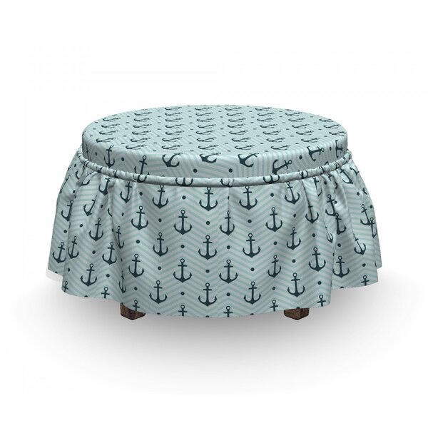 Anchor Zigzags Maritime Dots 2 Piece Box Cushion Ottoman Slipcover Set By East Urban Home