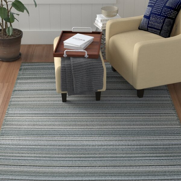 Frandsen Stripes Reversible Gray Indoor/Outdoor Area Rug by Winston Porter