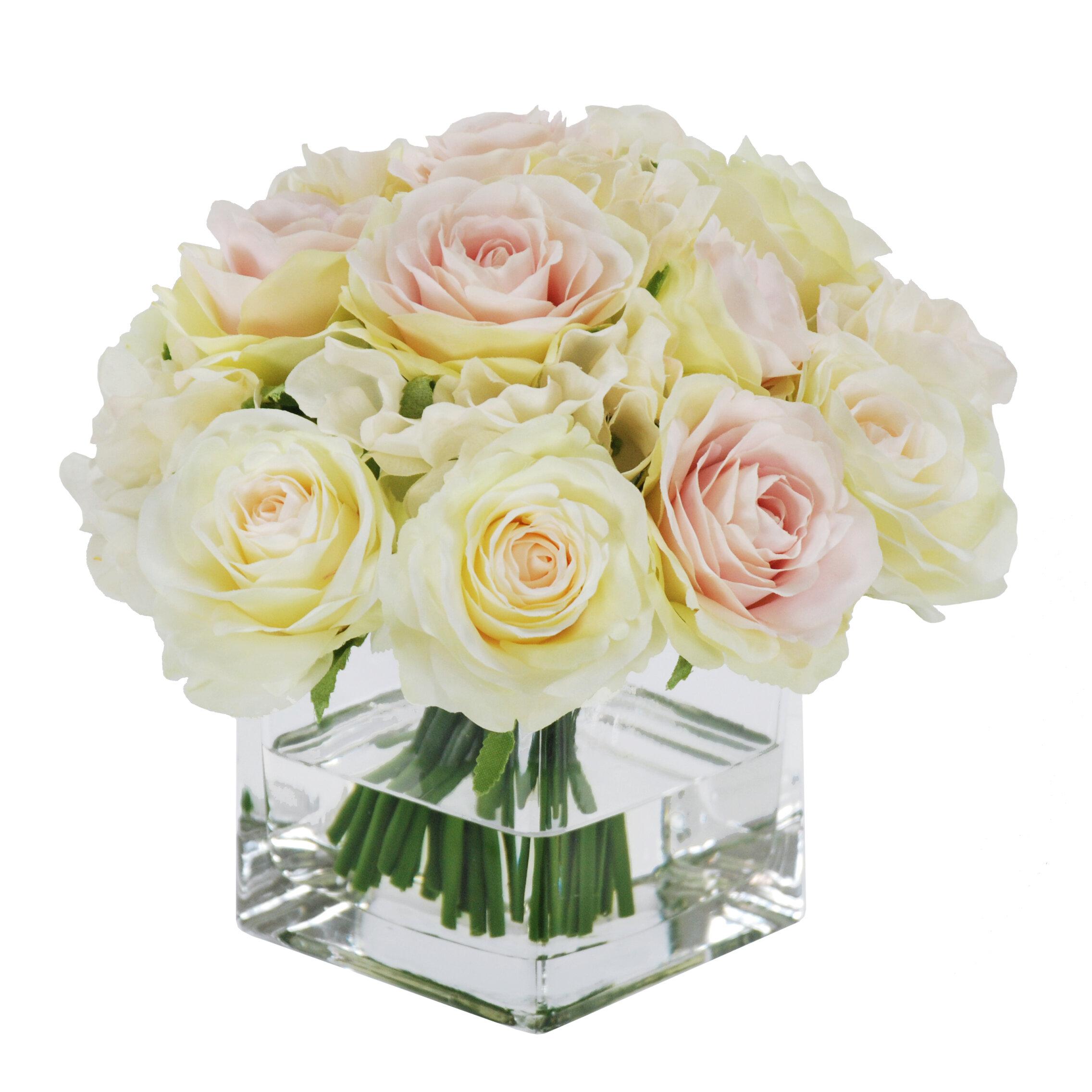 Winward Silks Rose Bouquet in Square Vase Floral Arrangements ...