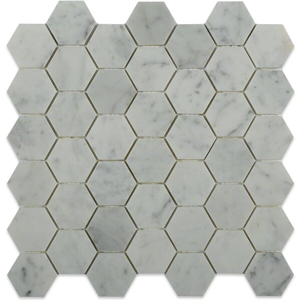 Hexagon 2 x 2 Marble Mosaic Tile in White Carrara by Splashback Tile