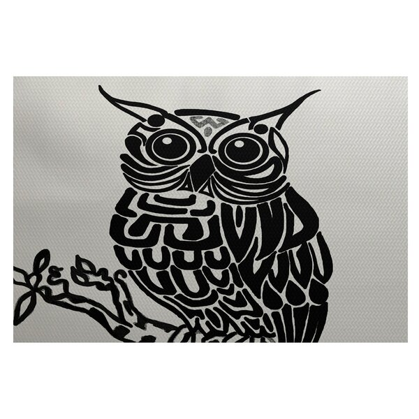 Jaqueline Bird Print Off White - Black Indoor/Outdoor Area Rug by Ebern Designs
