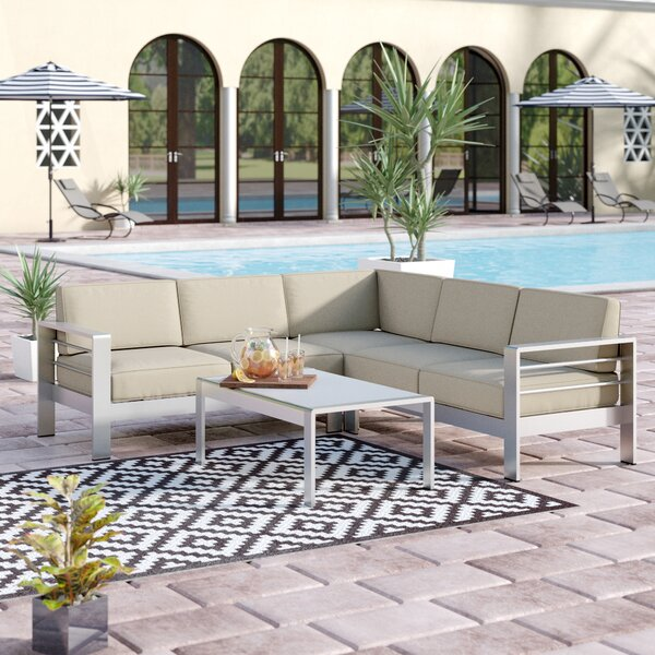 Durbin 4 Piece Sectional Set with Cushions by Wade Logan