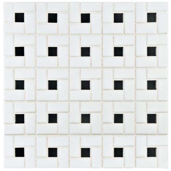 Retro Random Sized Porcelain Mosaic Tile in White/Black by EliteTile