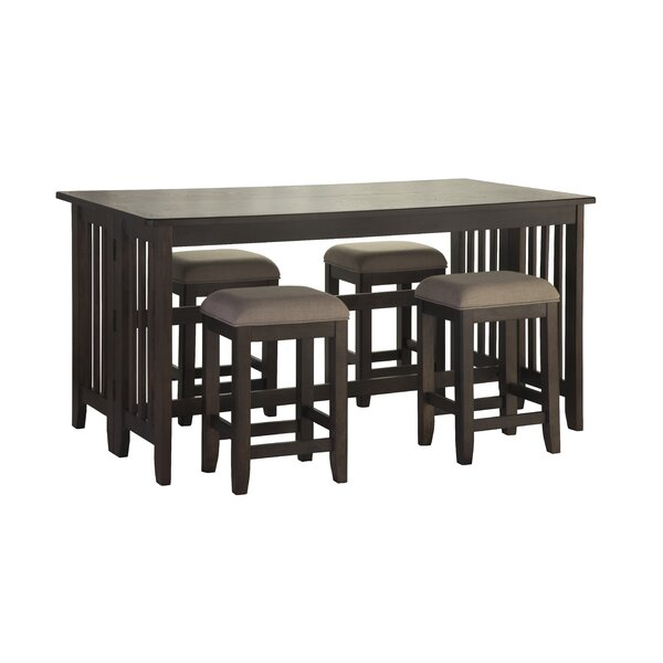 5 Piece Counter Dining Table With Drop Leaf And 4 Stools in  Drop Leaf by Red Barrel Studio Red Barrel Studio