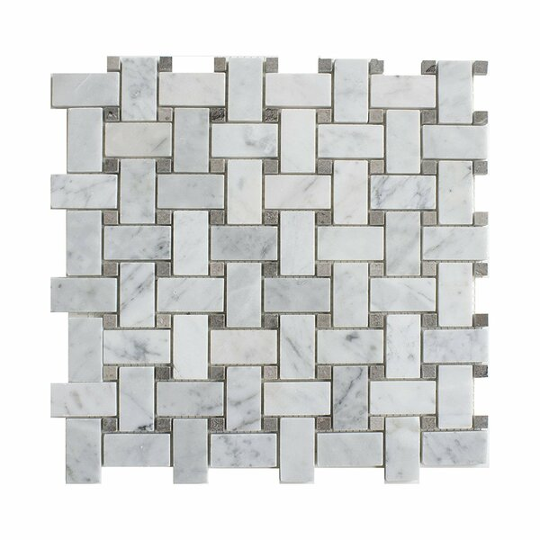 Carrara Basketweave 1 x 2 Marble Mosaic Tile in White by Matrix Stone USA