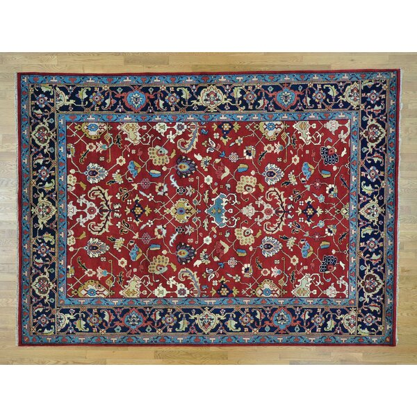 One-of-a-Kind Bingaman All Over Design Mahal Hand-Knotted Red Wool Area Rug by Isabelline
