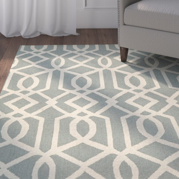Addingrove Hand-Knotted Aqua/Ivory Area Rug by Alcott Hill