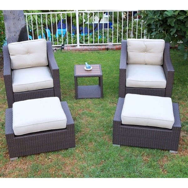 Tampa 5 Piece Conversation Set with Cushions by World Wide Wicker