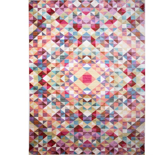 Marvine Blue/Red Area Rug by Wrought Studio