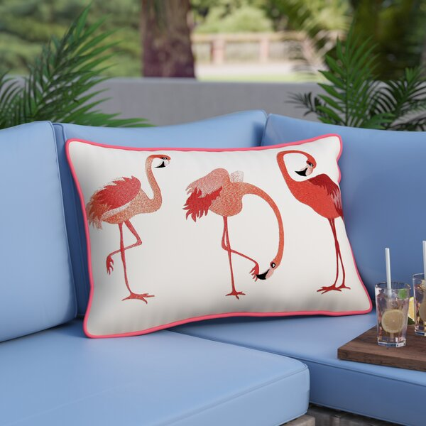 Tuzluca Flamingos Embroidered Outdoor Pillow by Beachcrest Home