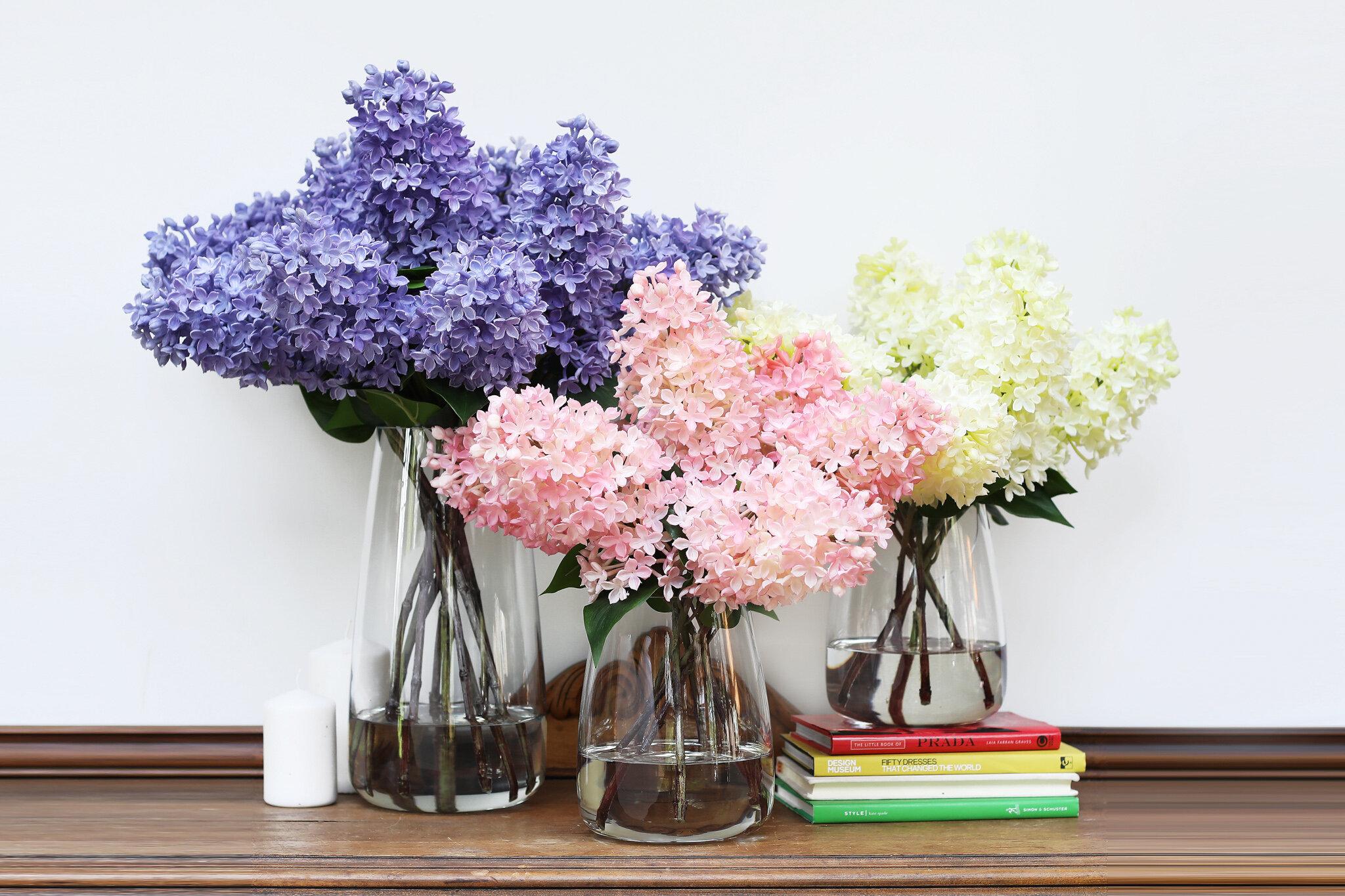 Primrue Lilac Floral Arrangement Glass Vase Wayfair