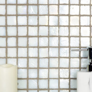 LEED Amber 0.75 x 0.75 Glass Mosaic Tile in Sea Oyster White by Abolos