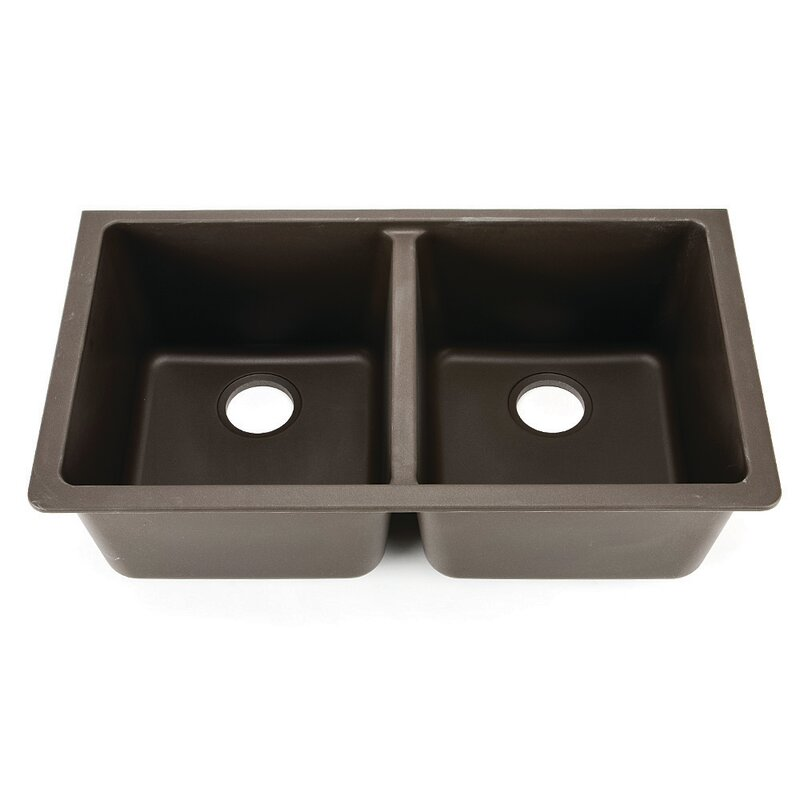 Hahn 33 L X 185 W Granite Extra Large Double Bowl Kitchen Sink