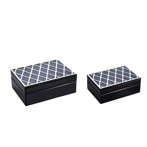 Julienne Wood and Glass Storage Decorative Box Set (Set of 2) by Everly Quinn