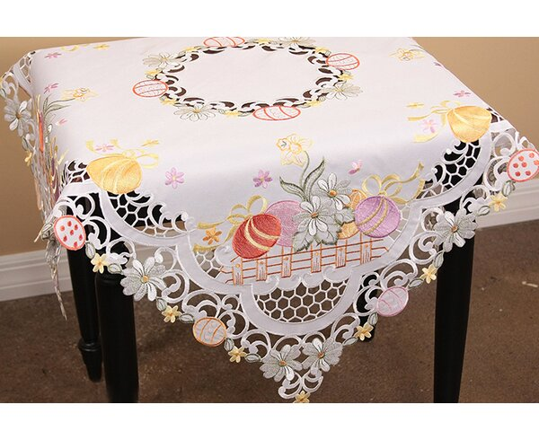 Country Egg Embroidered Cutwork Table Topper by The Holiday Aisle