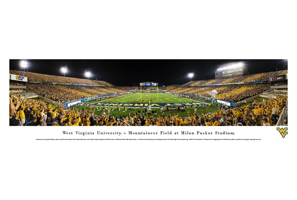 NCAA West Virginia University - Stripe End Zone by James Blakeway Photographic Print by Blakeway Worldwide Panoramas, Inc