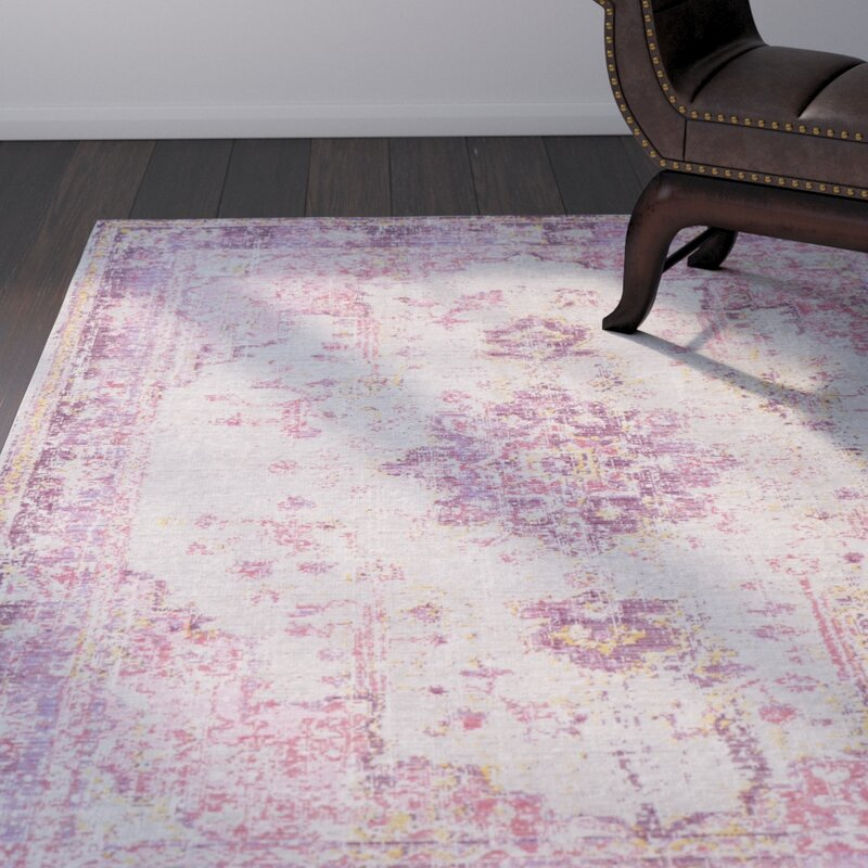 Kahina Vintage Distressed Oriental Bright Pink Area Rug