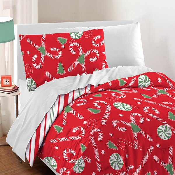 Candy Cane Cotton 2 Piece Comforter Set by The Hol