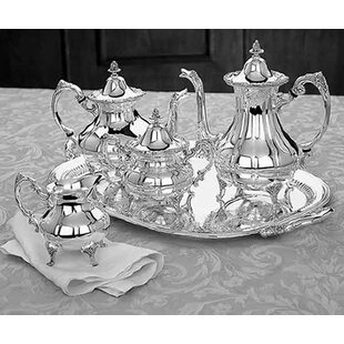 Holloware Classic Burgundy 5 Piece Tea Set with Waiter By Reed & Barton