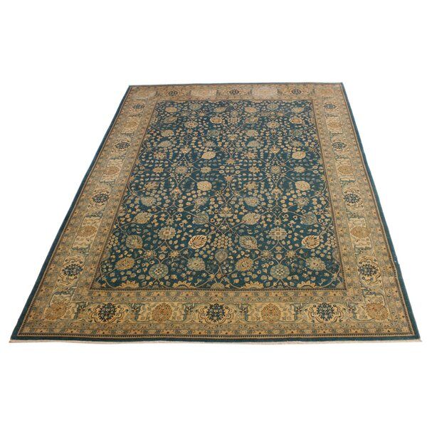 One-of-a-Kind Abagail Hand-Knotted Heritage Blue/Beige 9'2 x 12' Wool Area Rug