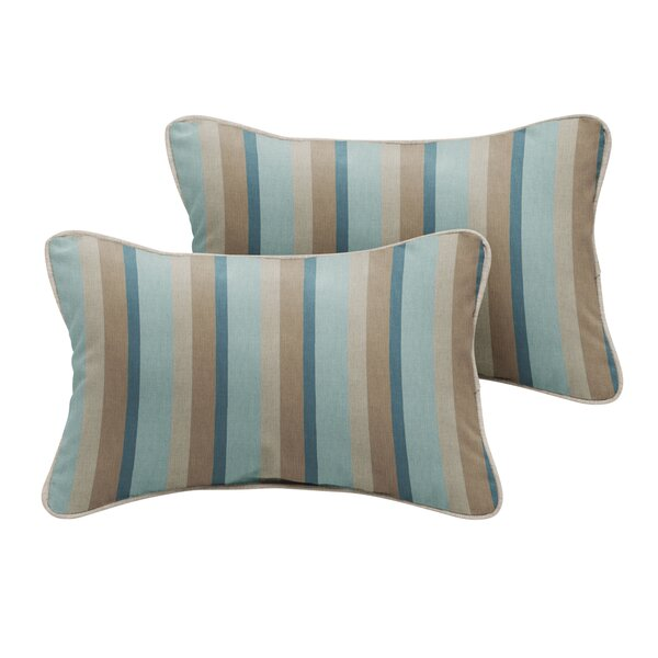 Orlando Sunbrella Gateway Mist Stripe Outdoor Lumbar Pillow (Set of 2) by Rosecliff Heights