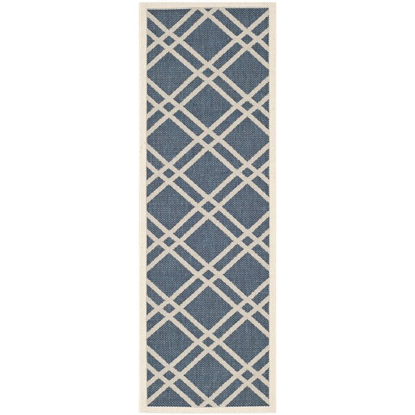 Short Ivory/Blue Indoor/Outdoor Area Rug by Winston Porter